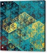 Blue Hexagon Fractal Art 2 Of 3 Acrylic Print