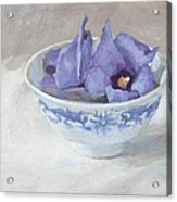 Blue Hibiscus Flower In Chinese Cup Acrylic Print by Anke Classen