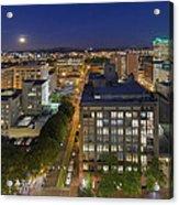 Blue Hour Moonrise II Over City Of Portland Oregon Acrylic Print