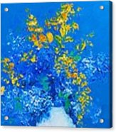 Blue Hydrangeas And Golden Chain Flowers Acrylic Print