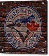 Blue Jays Baseball Graffiti On Brick  Acrylic Print by Movie Poster Prints