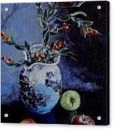 Blue Jug And Apples Acrylic Print