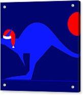 Blue Kangaroo Wishes You A Merry Christmas On Dark Blue Acrylic Print