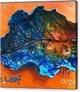 Blue Leaf Ceramic Design 3 Acrylic Print