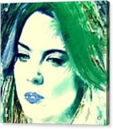 Blue Lips On Green Acrylic Print