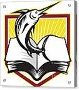 Blue Marlin Fish Jumping Book Retro Acrylic Print