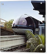 Blue Monorail In The Station Disneyland 01 Acrylic Print