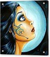 Blue Moon Goodess Acrylic Print by Elaina  Wagner