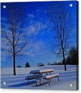 Blue On A Snowy Day Acrylic Print