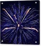 Blue Orange Fireworks Galveston Acrylic Print by Jason Brow