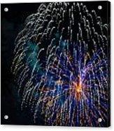 Blue Orange White Fireworks Galveston Acrylic Print