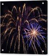 Blue Orange Yellow Fireworks Galveston Acrylic Print