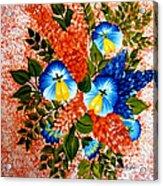 Blue Pansies Bouquet Acrylic Print