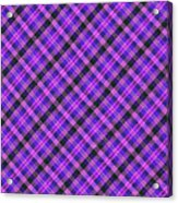 Blue Pink And Black Diagnal Plaid Cloth Background Acrylic Print