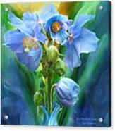 Blue Poppy Bouquet - Square Acrylic Print