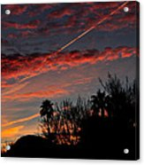 Blue Red And Gold Sunset With Streak Acrylic Print