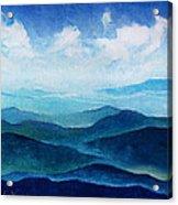 Blue Ridge Blue Skyline Sheep Cloud Acrylic Print