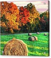 Blue Ridge - Fall Colors Autumn Colorful Trees And Hay Bales II Acrylic Print by Dan Carmichael