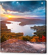 Blue Ridge Mountains Sunset - Lake Jocassee Gold Acrylic Print
