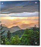 Blue Ridge Parkway Nc - Golden Rainbow Acrylic Print