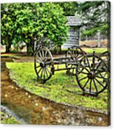 Blue Ridge Parkway Vintage Wagon In The Rain I Acrylic Print by Dan Carmichael