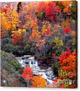 Blue Ridge Parkway Waterfall In Autumn Acrylic Print by Crystal Joy Photography