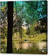 Blue Rowboat On Golden Pond Acrylic Print