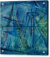 Blue Schooner Pen & Ink With Wc On Paper Acrylic Print