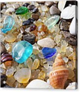 Blue Seaglass Art Prints Shells Agates Rocks Acrylic Print
