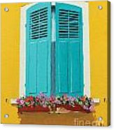 Blue Shutters And Flower Box Acrylic Print