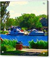 Blue Skies Boats And Bikes Montreal Summer Scene The Lachine Canal Seascape Art Carole Spandau Acrylic Print