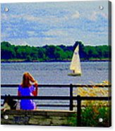 Blue Skies White Sails Drifting Blonde Girl And Collie Watch River Run Lachine Scenes Carole Spandau Acrylic Print