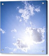 Blue Sky With Sun And Clouds Acrylic Print by Elena Elisseeva
