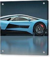 Blue Sports Car In A Wind Tunnel Acrylic Print