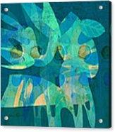 Blue Square Retro Acrylic Print by Ann Powell