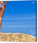Blue Striped Bikini Acrylic Print by Diane Diederich