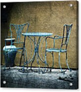 Blue Table And Chairs Acrylic Print
