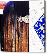 Blue Tile Brown Door 1 Acrylic Print
