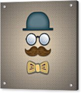 Blue Top Hat Moustache Glasses And Bow Tie Acrylic Print