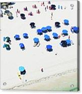 Blue Umbrellas On A Sunny Beach Acrylic Print