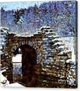 Blue Winter Stone Bridge Acrylic Print