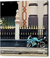 Blue Yellow Sporty Motorcycle Parked On Pavement Acrylic Print