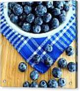 Blueberries And Blue Napkin Acrylic Print
