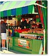 Blueberries Strawberry Jam Baskets Ferme Racine Petits Fruits Jean Talon Market Scene Carole Spandau Acrylic Print