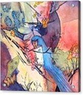 Bluebird And Butterflies Acrylic Print