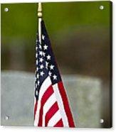 Bluebird Perched On American Flag Acrylic Print