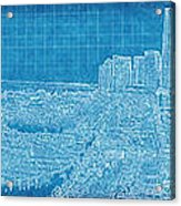 Blueprint Of Downtown Miami Acrylic Print by Joe Myeress