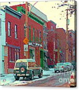 Blues And Brick Houses Winter Street Suburban Scenes The Point Sud Ouest Montreal Art Carole Spandau Acrylic Print