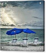 Blueumbrellassanibelisland Acrylic Print
