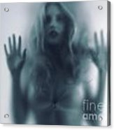Blurred Young Woman Silhouette Behind Glass Acrylic Print